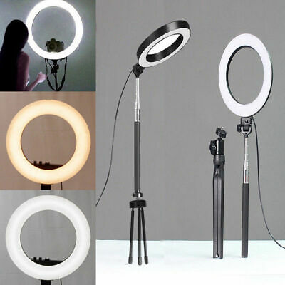 LED Dimmable Studio Camera Ring Light Makeup Photo Phone Lamp Selfie Stand Set