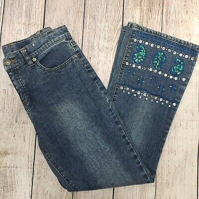 GAP Girl Flare Jeans Soft Indigo Floral Embroidered Cotton 693157 10 12 14 16