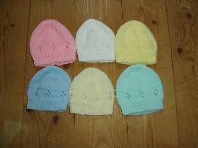 New hand knitted baby hat in white, pink, lemon, cream, mint or blue newborn