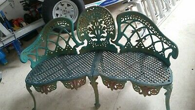 Cast Iron Antique Garden Bench Seat Extremely heavy wrought iron 3 seater