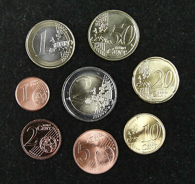 A Set of 8 Pieces Coins UNC, Euro Edition, From Different Countries and Years