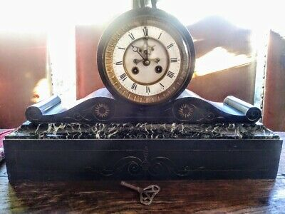 Antique, Victorian Marble And Slate Drum Head Mantle Clock With Original Key.