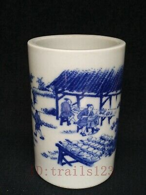 Collection Ancient China Porcelain Painting Figure Scenery Brush Pot Decoration