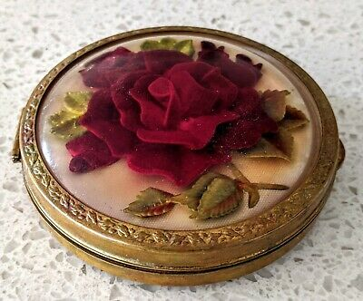 Vintage 1960's Brass Face Powder  Compact Case Cosmetic Makeup 3D Roses Domed
