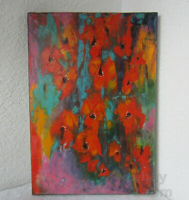 abstract poppies  - stupendous colors 50x35cm  Original Oil on canvas painting