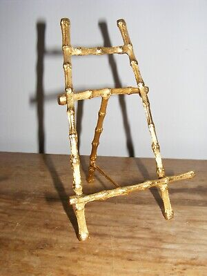 MINIATURE DECORATIVE EASEL BAMBOO DESIGN GOLD COLOURED EFFECT Apx 15cm TALL