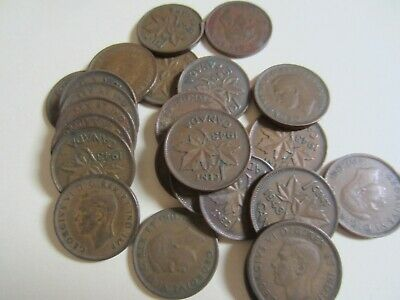 Roll of 1943 Canada Small Cents Coins. (50 Pennies)