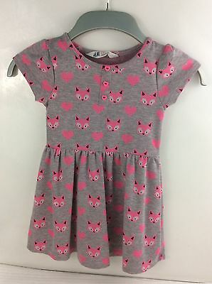 Kids Girls H&M Summer Dress Age 2-4 Years Grey And Pink (I-6)