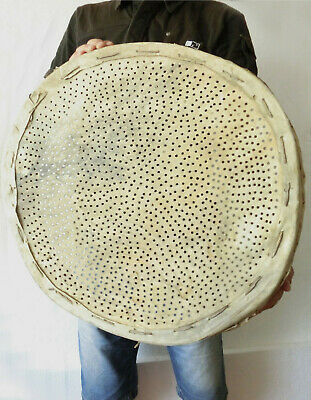 "GIANT > 22+"" Old Antique primitive Wooden Flour Sieve Sifter with leather bottom"
