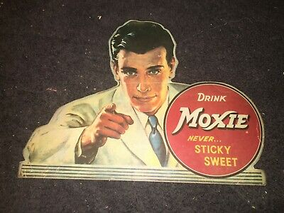 Drink Moxie Sign Never Sticky Sweet Soda Pop Cola Advertising Vtg Antique 1930's
