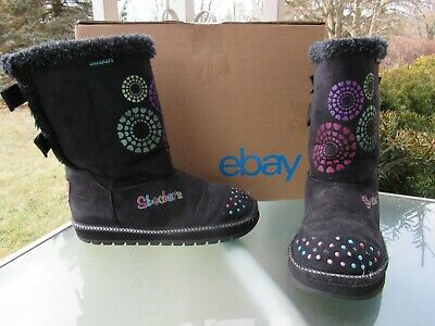 SKECHERS TWINKLE TOES Black Fur Lined Back Bow Winter Boots, Youth Girls size 1