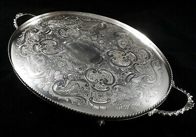 Beautiful Quality Vintage Silver Plated Footed Butlers Serving Tea Tray Vgc