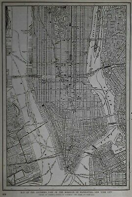 Fantastic Antique 1921 City Map Lower Manhattan New York NYC World War WWI L@@K!