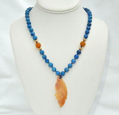 Vintage Chinese Hand Carved Lapis Red Jadeite Jade Fish Shou Beads Necklace 21""