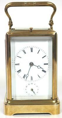 Antique French 8 Day Carriage Clock Large Repeat Alarm French Mantel Clock 1840