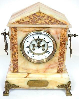 Antique French 8 Day Mantel Clock Marble Case With Bronze Mounts Mantle Clock