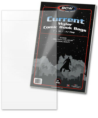 Pack of 25 BCW Current Comic Book Mylar Bags 4 Mil 7.25x10.5 Archival Safe