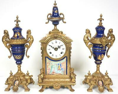 Vintage Bell Striking Mantel Clock Bronze Ormolu 8 Day Garniture Clock Set