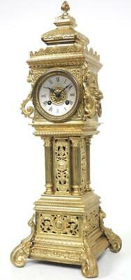 Antique French 8 Day Bell Striking Mantel Clock Bronze Ormolu Tower Clock C1880