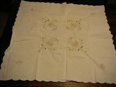 Vintage Table Cloth Square  Flowers