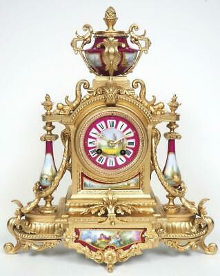 Antique French 8Day Bell Striking Gilt Metal & Red Sevres Porcelain Mantel Clock