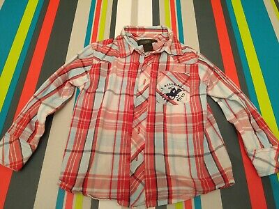 BOYS BEVERLEY HILLS POLO CLUB CHECK SHIRT SIZE AGE 4 Red Blue Christmas / Party