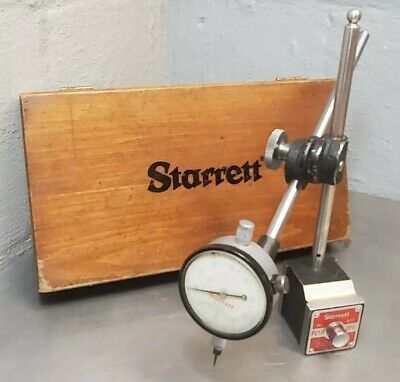 Starrett No. 657D magnetic base with No. 25-131 dial indicator w/ wooden case