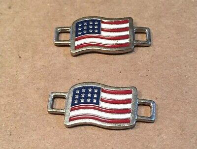USA FLAGS Shoes Boot Lace Keepers US American  NON BRANDED