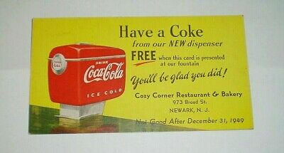 Coca Cola 1949 publicidad antigua original de un bar Newark USA nevera dispenser