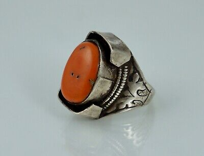 Sterling Chinese Export Nepal Tibet Antique Vintage Coral Saddle Ring Old Silver