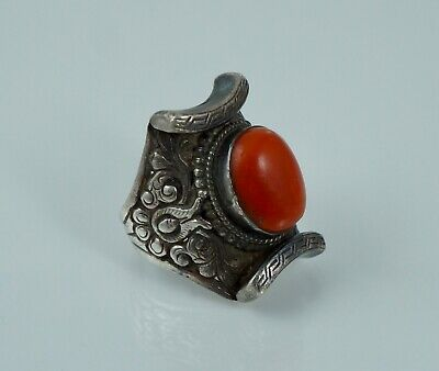 Chinese Export Sterling Coral Antique Saddle Ring Nepal Tibet Vintage Silver Old
