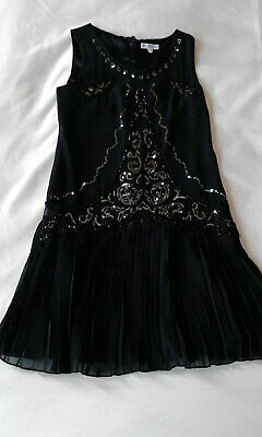 Marks & Spencer Autograph Girls Party Dress Black 11 yrs Sequin Silver BNWT