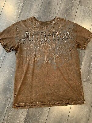 Affliction Mens L Live Fast Brown/Rust/Black Wings Distressed Graphic T-Shirt