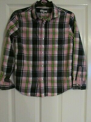 girls lovely pink checked shirt from m&s age 10yrs