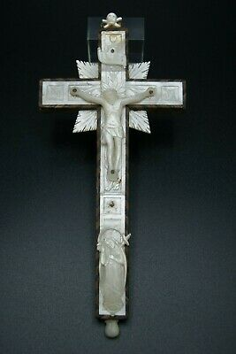 † Jerusalem Crucifix Reliquary Cross 14 Stations Mother Of Pearl Memento Mori †