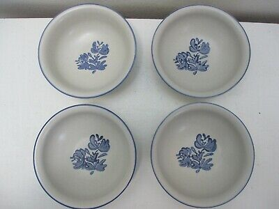 "Vintage Pfaltzgraff Yorktowne Set of 4 Cereal or Soup Bowls Blue 6"" D"