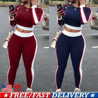 Women Side Stripes Crop Top Pants Tracksuit Ladies Sport Lounge Wear 2Pcs Suit