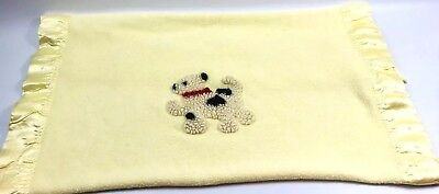 "Vintage Yellow Baby Blanket with Satin Trim Soft 100% WOOL 45"" x 35.5"" w/ Puppy"