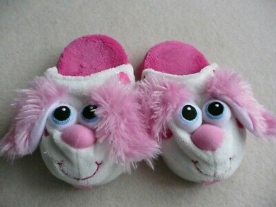 Dog Face Slippers Stompeez Pink Fluffy Ears Size 9 Girls Shoes Fleecy Fun S/M