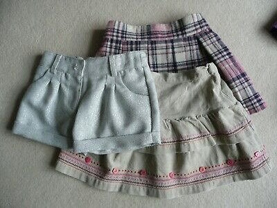 Age 1-2 Years 3 X Skirts Shorts Pink Beige Silver Sparkly Party Girls Kids
