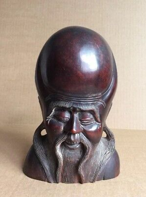 Vtg Oriental Culture Solid Wooden Handcarved God Long Life Head Statue Artwork