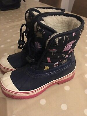 JOULES Girls Navy Equestrian Print Muck Snow Boots UK size 1 Water Resistant