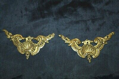 Antique Victorian Ornate Brass? Decorative Fittings Plaques Hardware Lot of 2