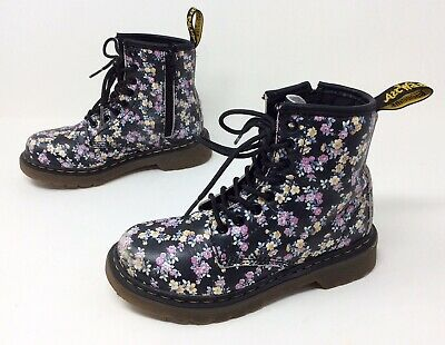 Youth Kids Girls Dr. Martens Docs Delaney Floral Lace Up Zip Fashion Boots 12