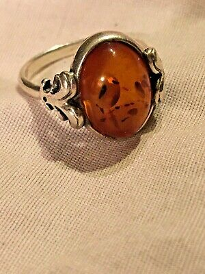 Vintage Art Deco 925 sterling silver amber ring size 8, 4.4g FREE SHIPPING