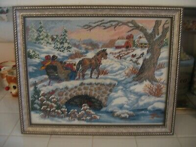 Beautiful Framed Cross Stitched Embroidered Picture Of Winter Snow Scene