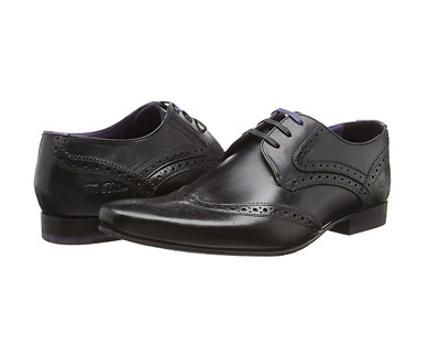 Ted Baker Mens Hann 2 Derby Brogue Lace-up Black Leather Shoes UK 11 RRP-£120