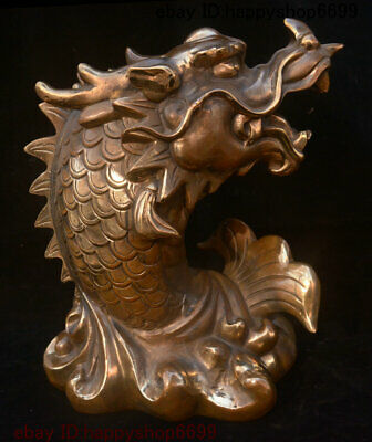 Collect China Dynasty Bronze Fengshui Dragon Fish Loong fish Beast Animal Statue