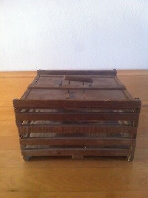 Antique Primitive Wooden Egg Crate Carrier With Sliding Top