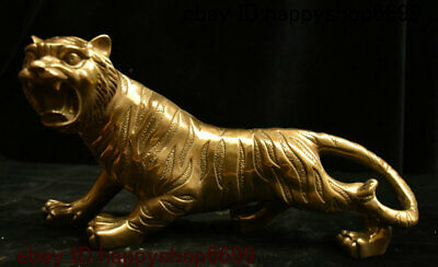 Collect Chinese Copper Brass Feng shui 12 Zodiac Year Animal Tiger Beast Statue